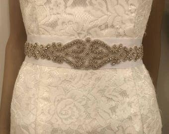 White crystal beaded bridal sash belt