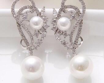 Pearl and crystal bridal drop earrings