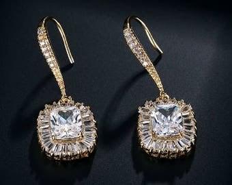 Gold crystal bridal drop earrings