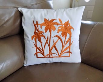 Day Lilies Silhouette Toss Pillow Cover