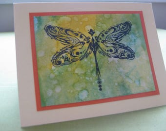 Handmade Dragonfly Card- Watercolour