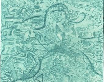 Wavy Green Etch Print