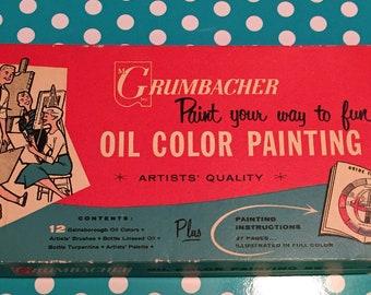 Vintage Grumbacher Oil Color Painting Set
