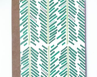 Green Feather Arrows Greeting Card 6-Pack