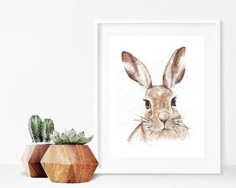 Watercolour Rabbit Print