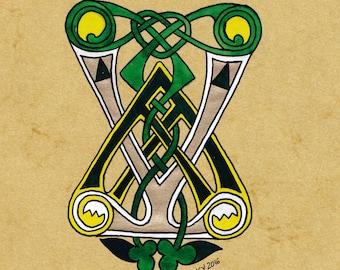 Drop cap V Celtic out of the book of Kells, paint original illumination