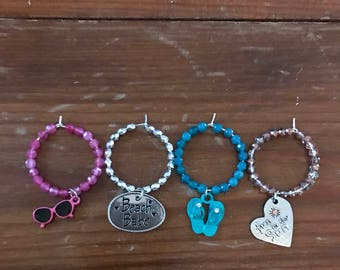 Set of 4 Beach Wine Charms