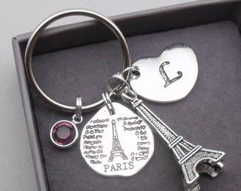 Paris Eiffel tower heart initial keyring | paris keychain | eiffel tower keyring | paris accessory | paris gift | letter | birthstone