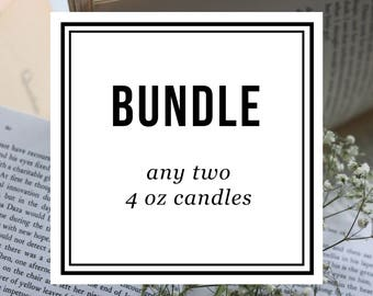 Bundle ~ Two 4 oz Candles ~ Soy Candles for Bibliophiles