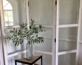 Shabby Chic White Farmhouse Solid Wood & Beveled Glass Room Divider Screen