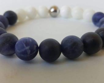 Blue and White stretch bracelet