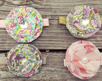 Fabric Flower Headbands/Baby headbands