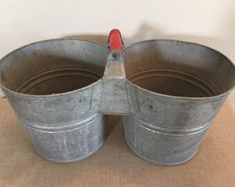 Vintage Galvanized Steel Double Bucket Planter with Handle / Decor / Mop Bucket