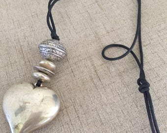 Chunky Vintage Silver Colored Large Heart Pendant Necklace