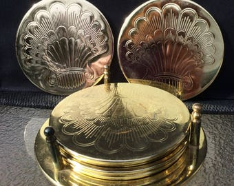 Brass Plated Coaster Set, Set of 6 Embossed Coasters with Holder - BohoSistas