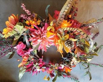 Red, orange, green, gold floral fairy wreath, renaissance festival, cosplay, wedding, halloween costume
