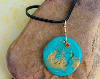 Handmade Polymer Clay round Butterfly Pendant, Blue and Gold for Summer with Swarkovski crystal, gold plated wire, copper, boho