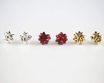 Holiday Season Gift Bow Stud Earrings-hristmas Gift Bow Post Earrings-Sliver & Gold Ribbon Earrings-Giftbow Studs Ribbon Stud Earrings