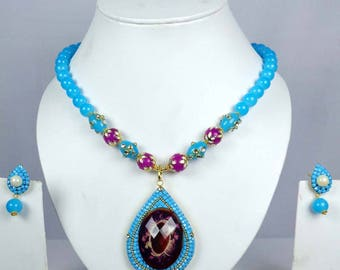 Sky Blue color necklace