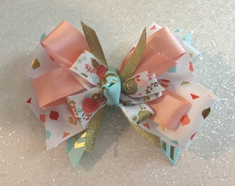 """Coral & Mint Floral 5"""" Bow with Gator Clip"""