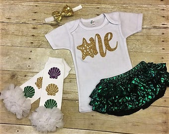 Mermaid First Birthday, Little Mermaid birthday outfit, Under the Sea Ariel Outfit, Toddler Mermaid Outfit, Mermaid Party, Little Mermaid
