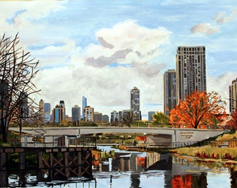 Lincoln Park Zoo Bridge- giclee print of the painting