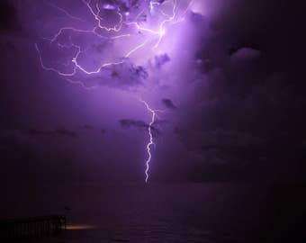Lightning - Lightning Bolts - Thunder - Storm - Thunderstorm - Nature - Digital Photo - Digital Download - Beach - Water - Florida