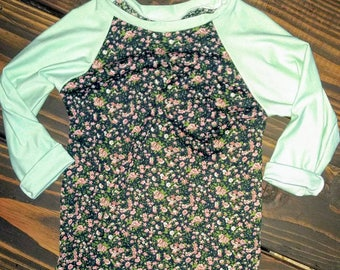 Floral and mint girls raglan shirt