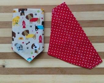 Reversible Pet Bandana w Dogs, Red & White Polka Dots, Through Collar