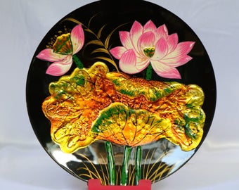 Beautiful Vietnam Lotus lacquer painting plate 8x8 inch