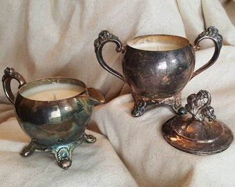 Soy Candles Elegant Vintage Creamer and Sugar Containers