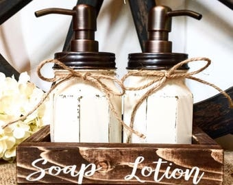 Rustic Mason Jar Bathroom Set, antique white, oil rubbed bronze soap and lotion pumps and rings. Wood box.