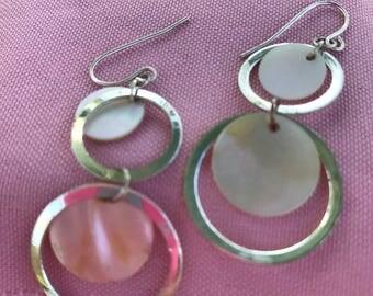 Silver toned mop earrings