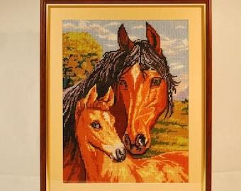 Loving Mother. Horses