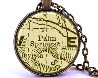 Palm Springs, California Map Pendant Necklace - Created from a vintage map published in 1901.
