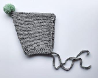 Baby pixie hat - Spring sun bonnet - handmade knitted hat - kids pom pom - newborn bonnet - baby shower gift