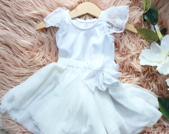 Pretty in White Bodysuit and Skirt.