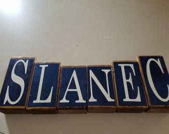 Custom Wood Name Blocks - Navy Blue & White