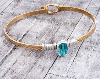 Two toned wire-wrapped aqua stone bangle