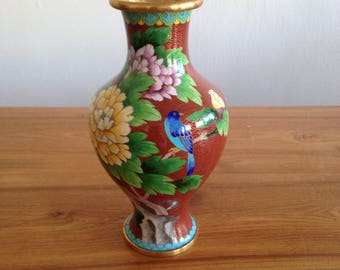 China - Red cloisonné, peonies and bird vase