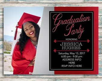 Red & Black Graduation Party Invitation - Graduation Announcement - Party Invitation - Class of 2017 - Any Color options