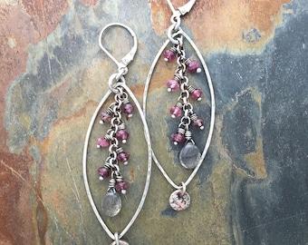 Boho Earrings | Long Gemstone Dangle Earrings with Labradorite and Pink Tourmaline Beads & Fine Silver Charm