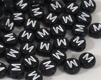 100 black letter beads *M*, alphabet beads, 7mm