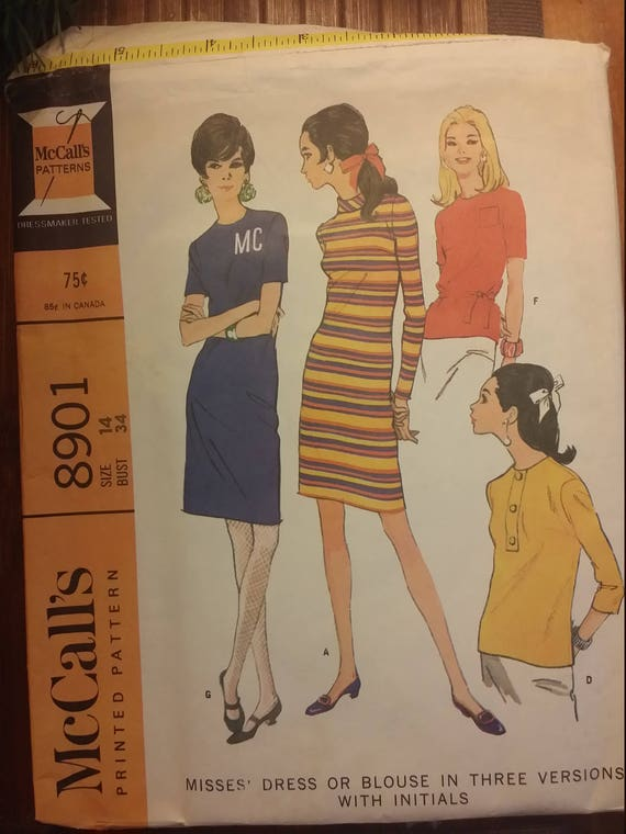 McCalls # 8901 Sz 14 Bust 34 Misses Dress or Blouse in three versions  Vintage pattern