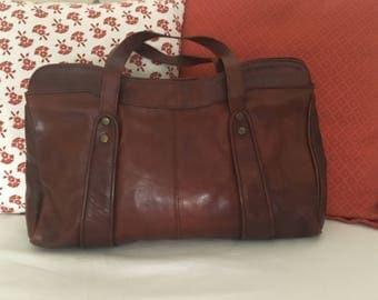 Original vintage leather bag 70 years-Vintage leather bag woman