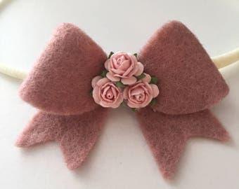 Felt rose bow