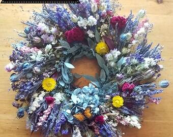 Spring Bouquet, lavender, lavender wreath, fragrant wreath, colorful wreath, indoor wreath, bathroom wreath,