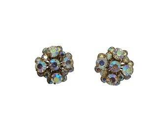 Vintage 1950's Aurora Borealis Rhinestone Earrings, Vintage Rhinestone Earrings,Vintage Clip on Earrings,Vintage Rhinestone Clip on Earrings