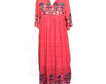 Vintage indian embroidered pink dress