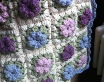 Handmade Crochet Baby Blanket - Blue Granny Square Design